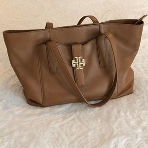 Tory Burch brown leather over the shoulder Tote